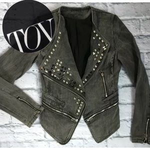 TOV Holy-G 38 Studded Moto Jacket Jean Snap Cotton